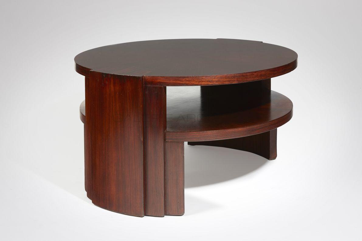 Dominique - Dominique-Table basse circulaire palissandre_ Galerie Arcanes l Arts Décoratifs XXe - Art Contemporain Paris