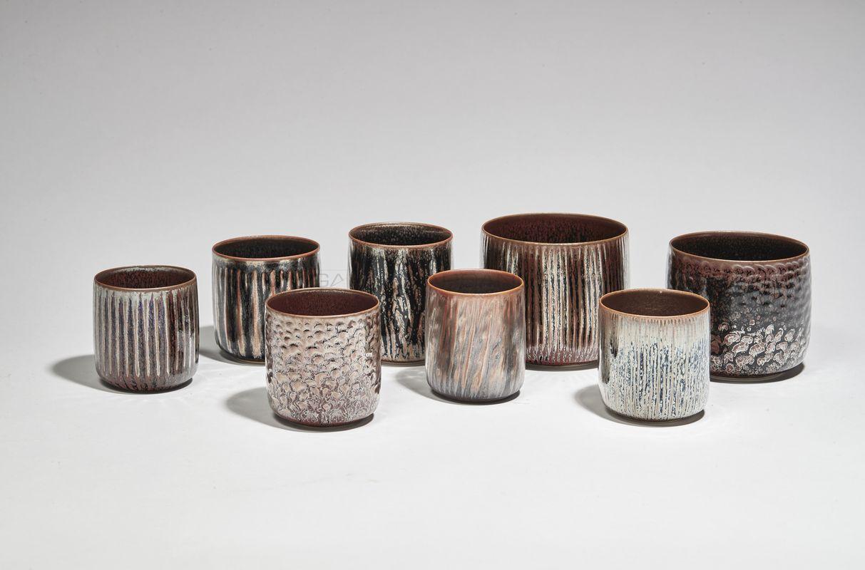 Hermans Valérie - Irisés.ensemble tasses _ Galerie Arcanes l Arts Décoratifs XXe - Art Contemporain Paris