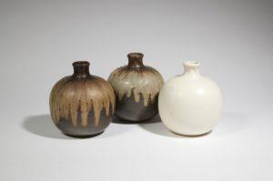 Trois vases boule, grès, 1900-1930 | Louis Lourioux