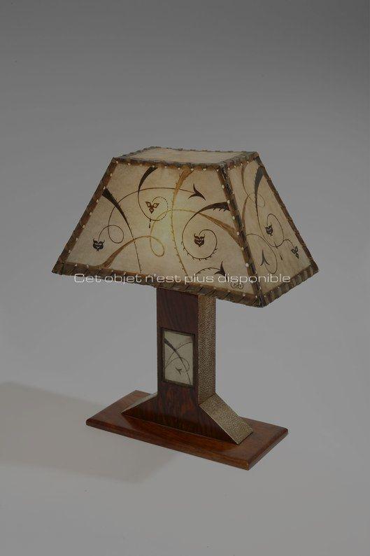 Non disponibles - Dominique - Petite lampe de table galuchat et parchemin décoré2_ Galerie Arcanes l Arts Décoratifs XXe - Art Contemporain Paris