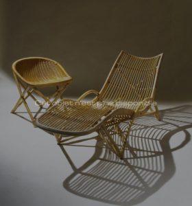 Chaise longue en rotin, circa 1959 | Louis Sognot