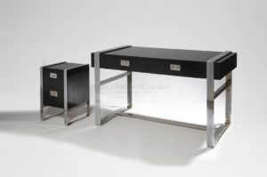 Bureau, mélaminé noir et métal chromé | Jacques Quinet