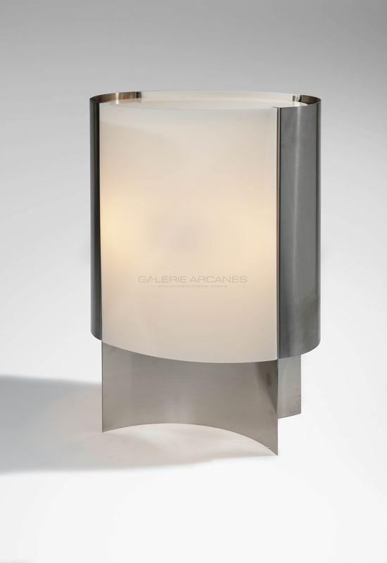 Quinet Jacques - Grande lampe inox + plexi 1972 _ Galerie Arcanes l Arts Décoratifs XXe - Art Contemporain Paris