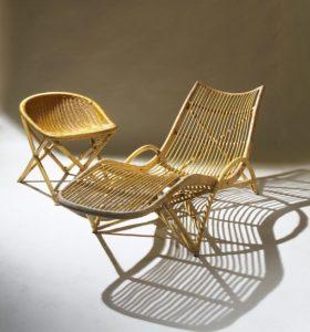 Sognot Louis - Chaise longue rotin 1959 _ Galerie Arcanes l Arts Décoratifs XXe - Art Contemporain Paris