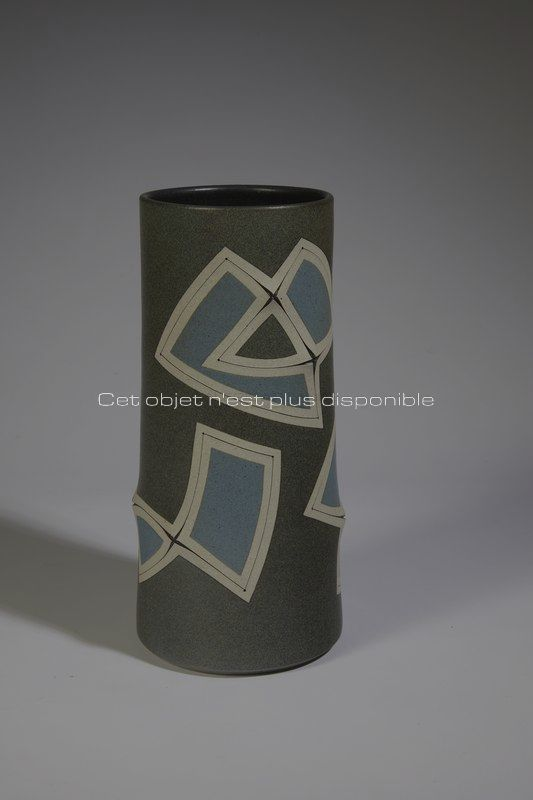 Non disponibles - Gustavo Perez - Vase géométrie gris bleu _ Galerie Arcanes l Arts Décoratifs XXe - Art Contemporain Paris