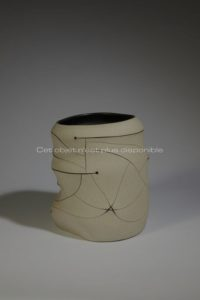 Polymorphic Vase, Sand Color and Black Decoration, sandstone, 2012 | Gustavo Perez