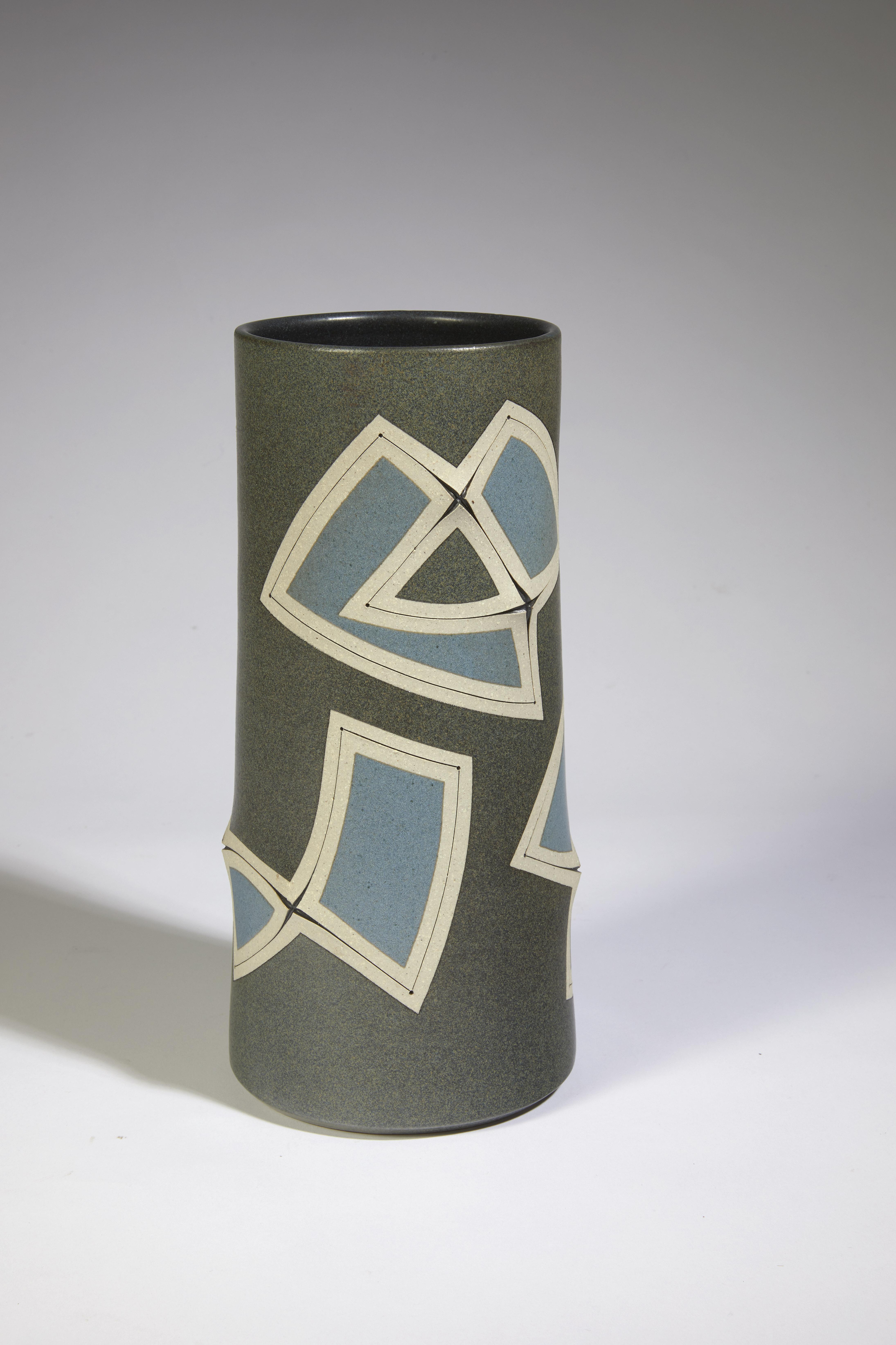 Vase géométrie gris bleu