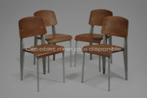 Set of Standard Chairs, Steel and Oak, Circa 1944 | Jean Prouvé