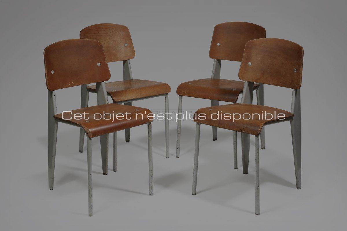 Non disponibles - Prouvé Jean - Chaises 1950 _ Galerie Arcanes l Arts Décoratifs XXe - Art Contemporain Paris_ Galerie Arcanes