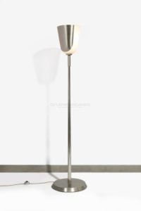 Floor Lamp, metal and smoked  glass, circa 1950 | Jean Perzel