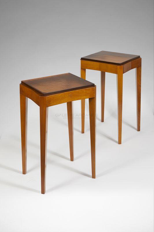 Dominique - Tables bout de canapé frêne et verre _ Galerie Arcanes l Arts Décoratifs XXe - Art Contemporain Paris