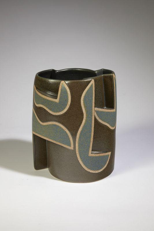 Gustavo Perez - Vase géométrie gris vert _ Galerie Arcanes l Arts Décoratifs XXe - Art Contemporain Paris