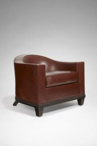 Brownish Armchair, Leather and Makassar, Circa 1928 | Jacques-Emile Ruhlmann