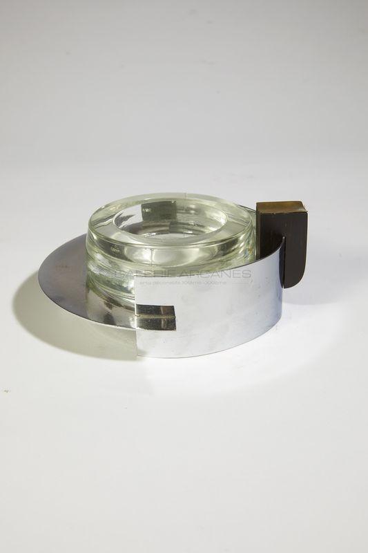 Dupré-Lafon Paul - Cendrier métal et verre _ Galerie Arcanes l Arts Décoratifs XXe - Art Contemporain Paris