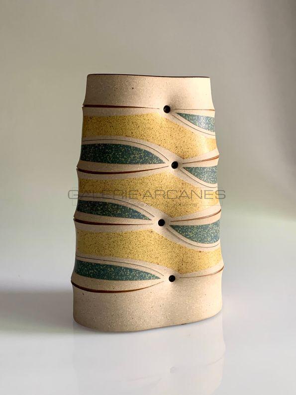Gustavo Perez - Haut vase méplat_ Galerie Arcanes l Arts Décoratifs XXe - Art Contemporain Paris
