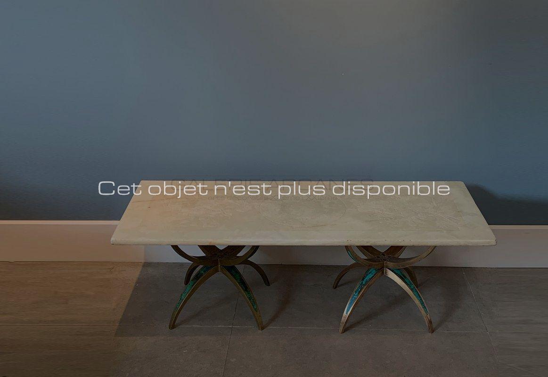 Non disponibles - Mendoza Pepe - Table basse onyx blanc _ Galerie Arcanes l Arts Décoratifs XXe - Art Contemporain Paris_ Galerie Arcanes l Arts Décoratifs XXe - Art Contemporain Paris