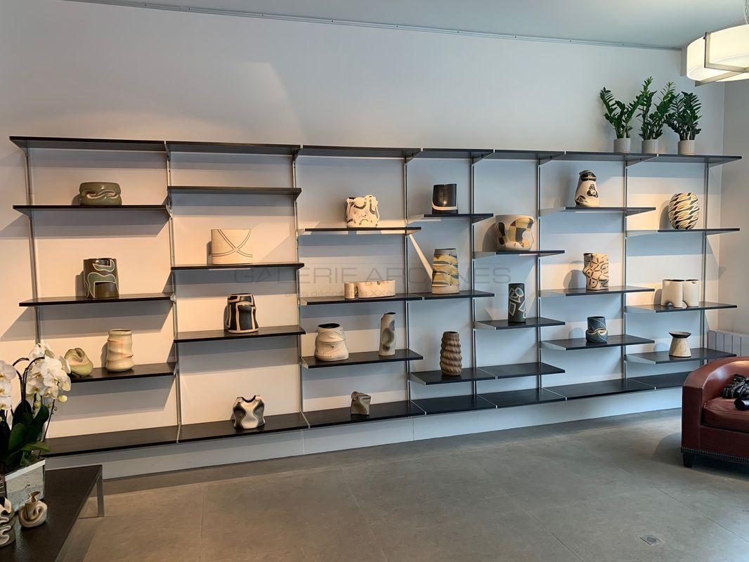 Nelson Georges - Bibliothèque frêne noir et acier _ Galerie Arcanes l Arts Décoratifs XXe - Art Contemporain Paris