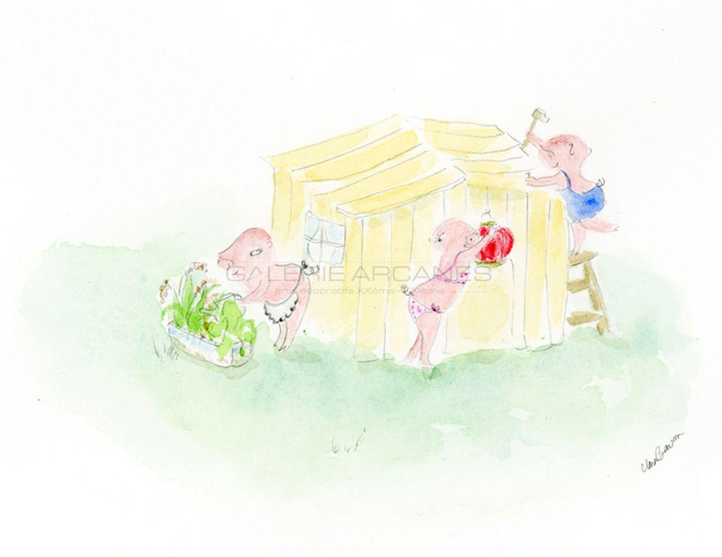 Baum Clara Jeux d'enfants - Trois petits cochons_ Galerie Arcanes l Arts Décoratifs XXe - Art Contemporain Paris