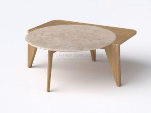 Table basse «Satelline» blanche, chêne et travertin, 2019 | Pierre-Rémi Chauveau