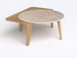 "Coffee table, White ""Satelline"", Oak and Travertine, 2019 