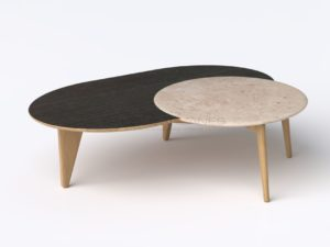 "Coffee table, Black ""Satelline"", Oak and Travertine, 2019 