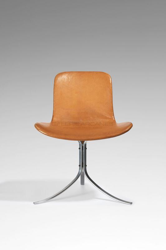 Kjaerholm Poul - Chaise PK-9 métal et cuir_ Galerie Arcanes l Arts Décoratifs XXe - Art Contemporain Paris