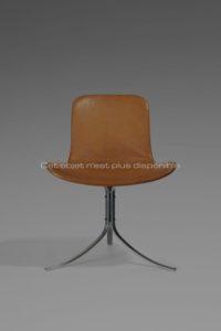 Chaise PK9, métal et cuir, circa 1961 | Poul Kjaerholm