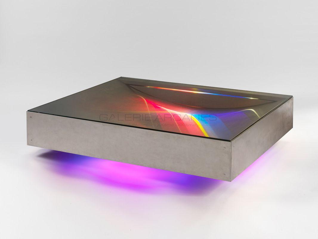 2016-09- Carré Rive Gauche. Métal et Verre - Table lumineuse Guy Pro-Diaz_ Galerie Arcanes l Arts Décoratifs XXe - Art Contemporain Paris