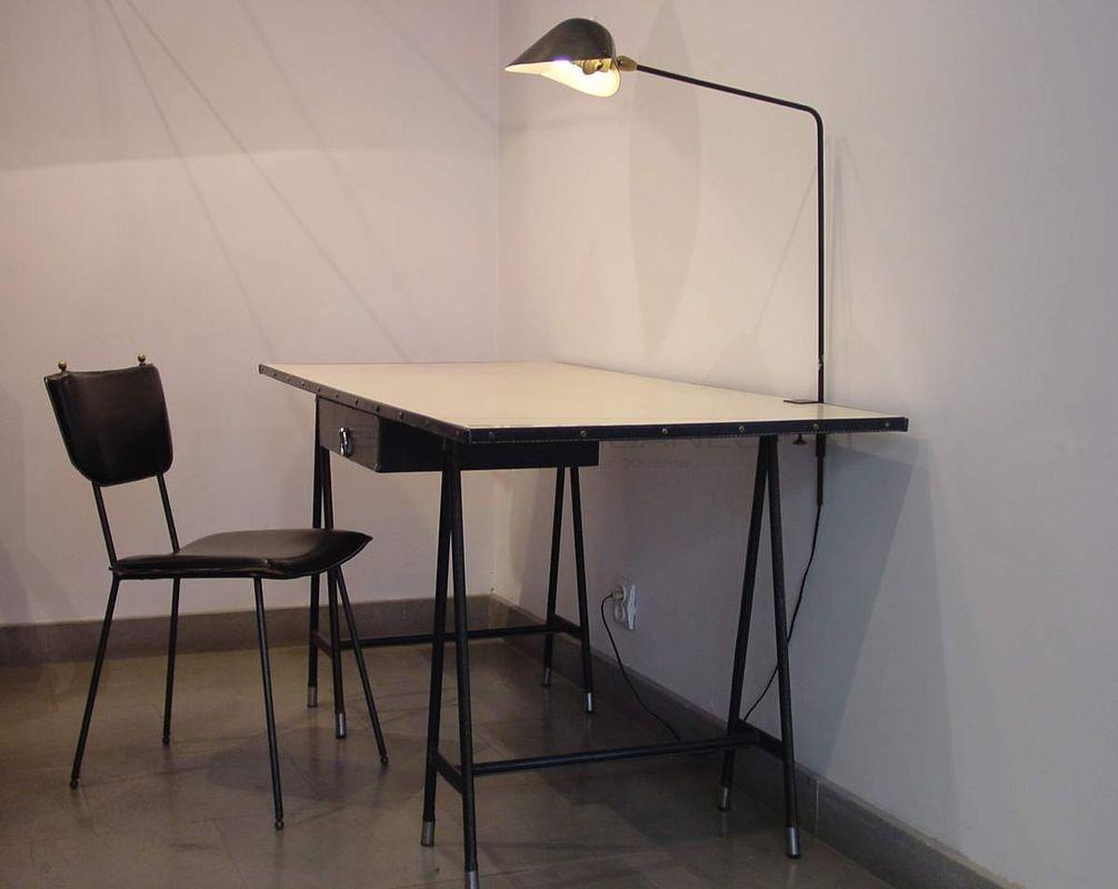 Adnet Jacques - Grand bureau bleu _ Galerie Arcanes l Arts Décoratifs XXe - Art Contemporain Paris