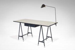 Large desk, leather and Formica, circa 1950-1960 | Jacques Quinet