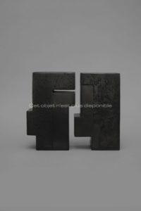 Contenir le vent «la 8-XI / 7-XI», sculpture céramique à couverte noire | Brigitte Marionneau