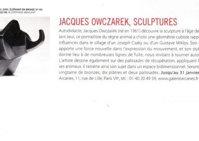 12-2014.La Gazette drouot.Jacques Owczarek - 1_ Galerie Arcanes l Arts Décoratifs XXe - Art Contemporain Paris