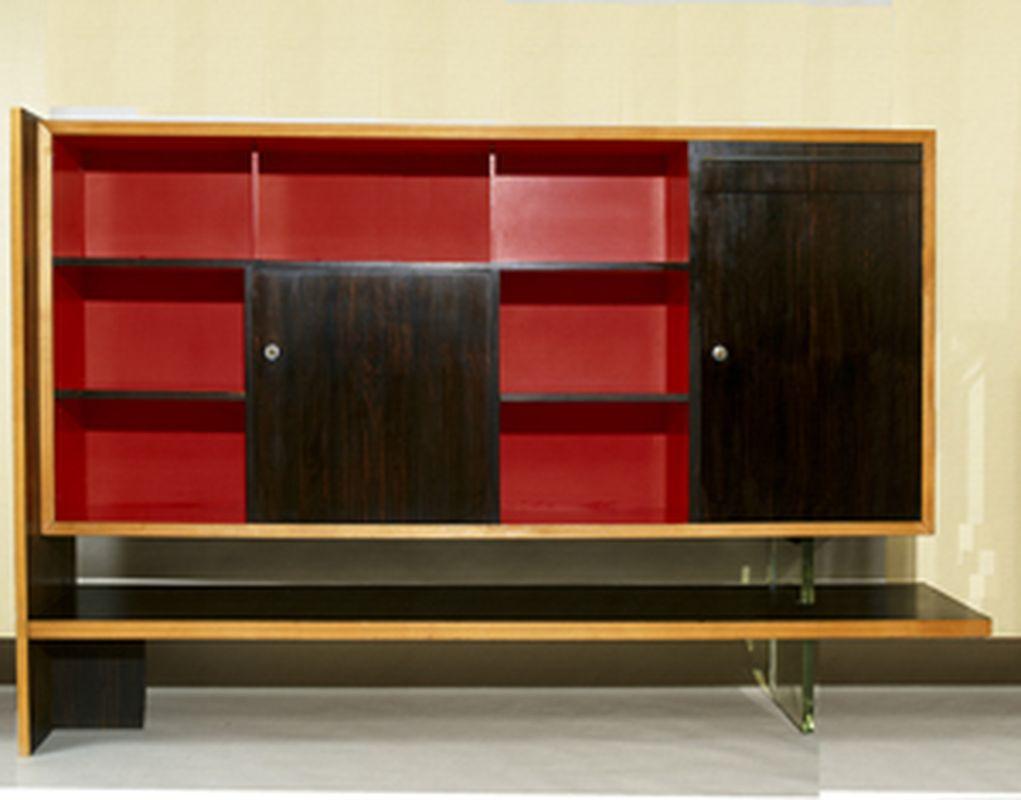 2006-05- Louis Sognot. Mobilier - Bibliothèque rouge_ Galerie Arcanes l Arts Décoratifs XXe - Art Contemporain Paris