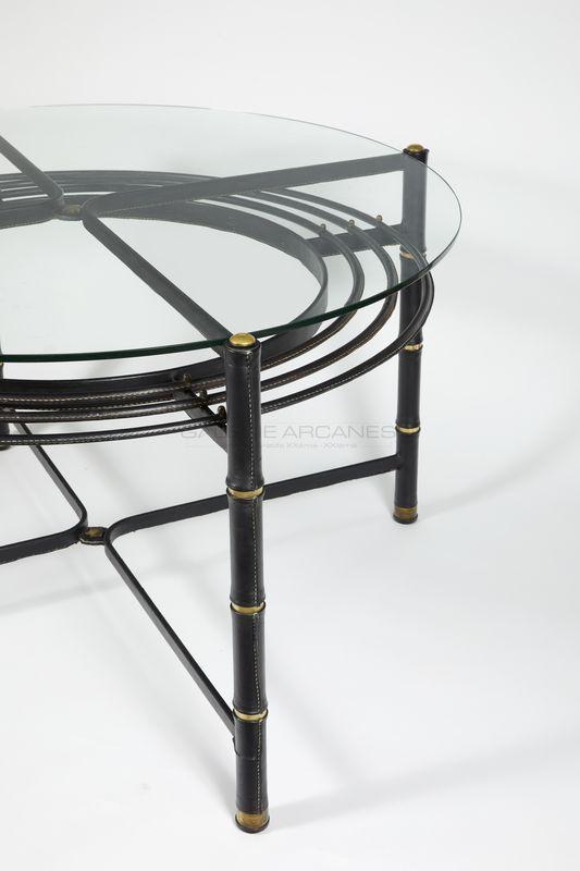 Adnet Jacques - Table de salle à manger circulaire verre et cuir. Détail_ Galerie Arcanes l Arts Décoratifs XXe - Art Contemporain Paris