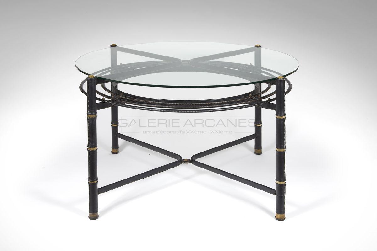 Adnet Jacques - Table de salle à manger circulaire verre et cuir_ Galerie Arcanes l Arts Décoratifs XXe - Art Contemporain Paris