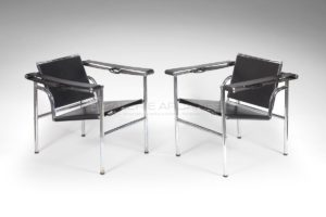 "Armchairs ""LC1"" model , Black Leather, Circa 1930-1940 