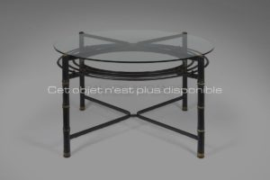 Table circulaire cuir noir et verre, circa 1950 | Jacques Adnet