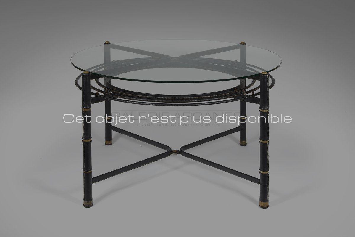 Non-disponibles-Adnet-Jacques-Table-de-salle-à-manger-circulaire-verre-et-cuir_-Galerie-Arcanes-l-Arts-Décoratifs-XXe-Art-Contemporain-Paris