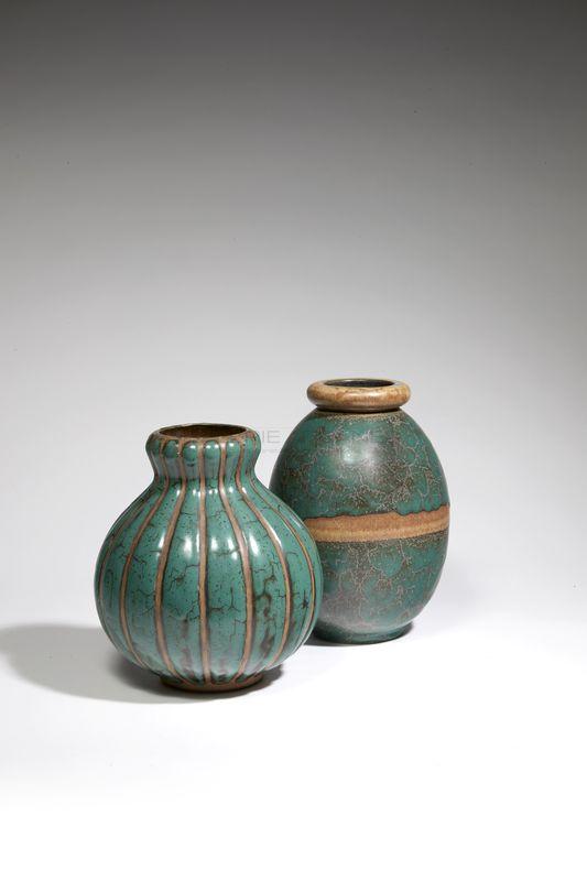 Lourioux Louis - Grand vase ovoïde émaillé vert craquelé_ Galerie Arcanes l Arts Décoratifs XXe - Art Contemporain Paris