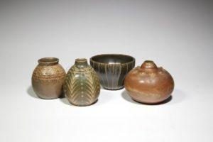 Vases Art nouveau à décor de godrons, grès, 1900-1930 | Louis Lourioux