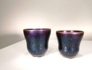 Deux coupes calice bleu nuit irisé, 2019 | Jean Girel