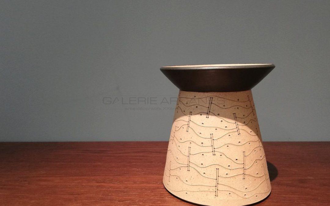 Sandstone Vase, Abstract Decoration, 1999   Gustavo Perez