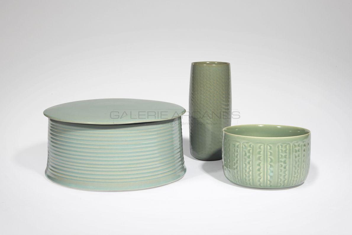 Hermans Valérie - Grande boite cylindrique striée_ Galerie Arcanes l Arts Décoratifs XXe - Art Contemporain Paris