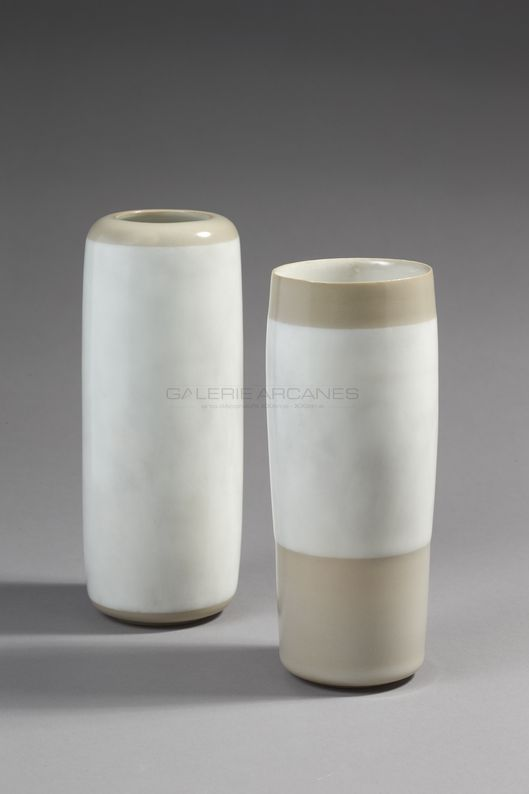 Hermans Valérie - Vase rouleau bicolore nuagé_ Galerie Arcanes l Arts Décoratifs XXe - Art Contemporain Paris