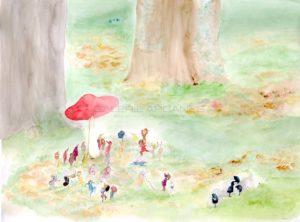 La fête de l'Amanite, aquarelle sur papier, 2020 | Clara Baum