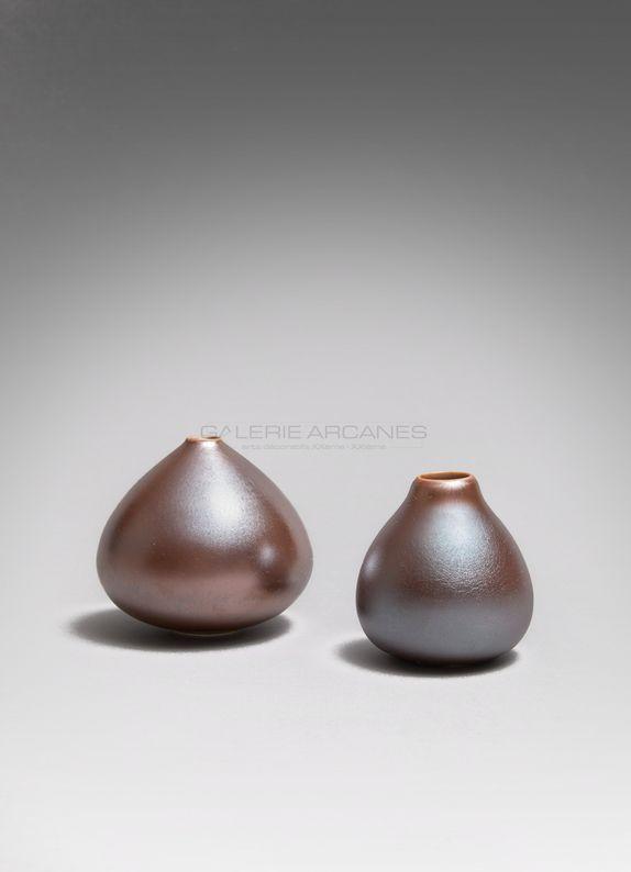 Hermans Valérie - Petits vases piriformes moirés bis_ Galerie Arcanes l Arts Décoratifs XXe - Art Contemporain Paris