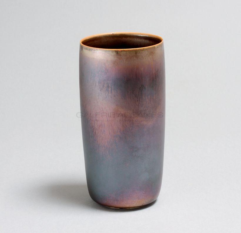 Hermans Valérie - Vase cylindrique irisé bleu_ Galerie Arcanes l Arts Décoratifs XXe - Art Contemporain Paris