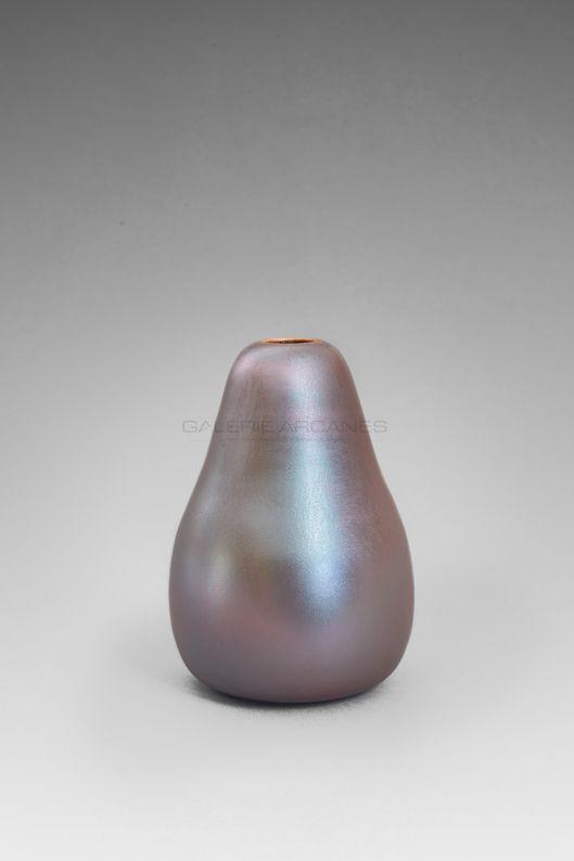 Hermans Valérie - Vase piriforme irisé bleu moiré bis_ Galerie Arcanes l Arts Décoratifs XXe - Art Contemporain Paris