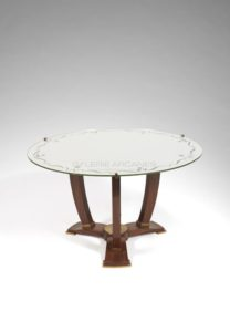 Low table, mahogany tripod frame, Circa 1936 | Jules Leleu