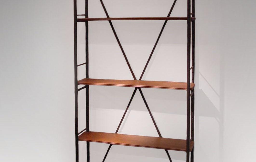Bibliothèque métal et acajou, circa 1930-1940 | Lerat établissements